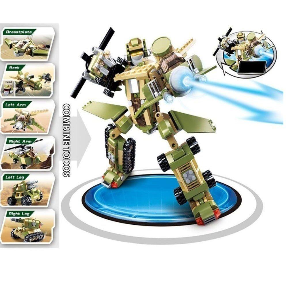 Blocos De Montar 110pçs Exército 6 Em 1 BR839 Multikids  - Mix Eletro