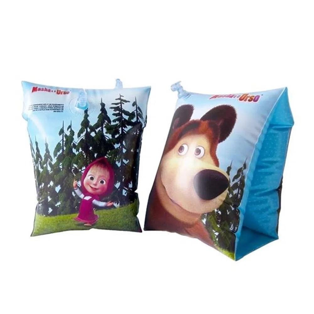 Boia inflável infantil de braço Masha e o Urso praia piscina Multikids BR976  - Mix Eletro