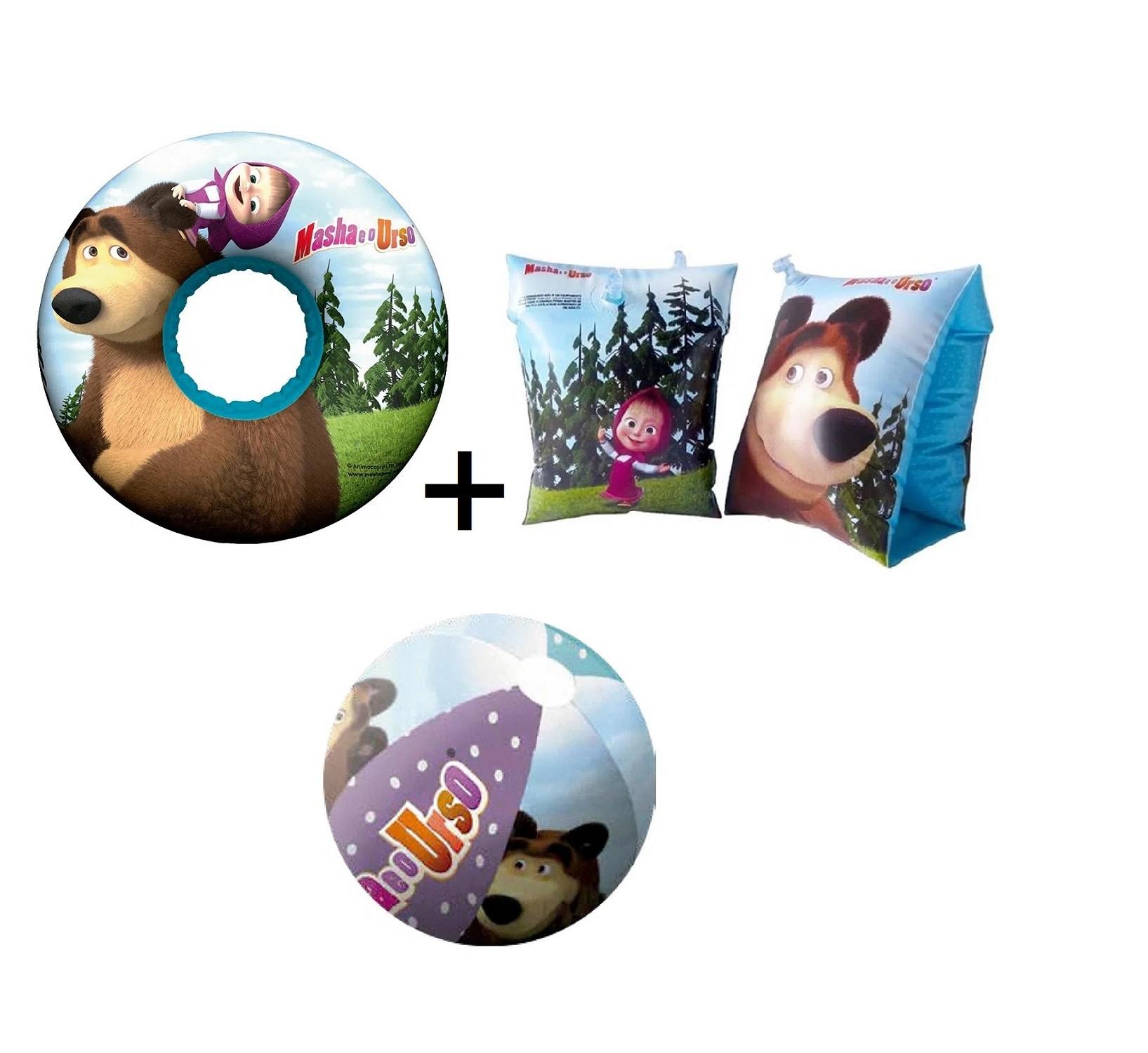 Boia inflável redonda + boia de braço + Bola Masha e o Urso praia piscina Multikids  - Mix Eletro