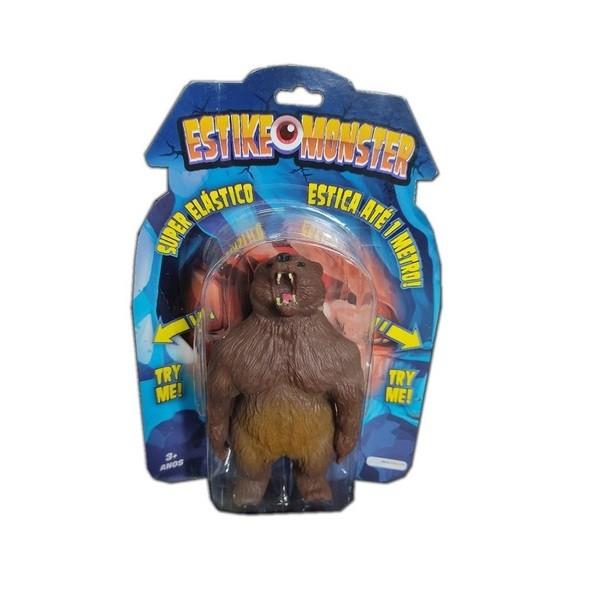Boneco de monstro 14cm estica até 1m Estike Monster  Multikids - Urso Pardo  - Mix Eletro
