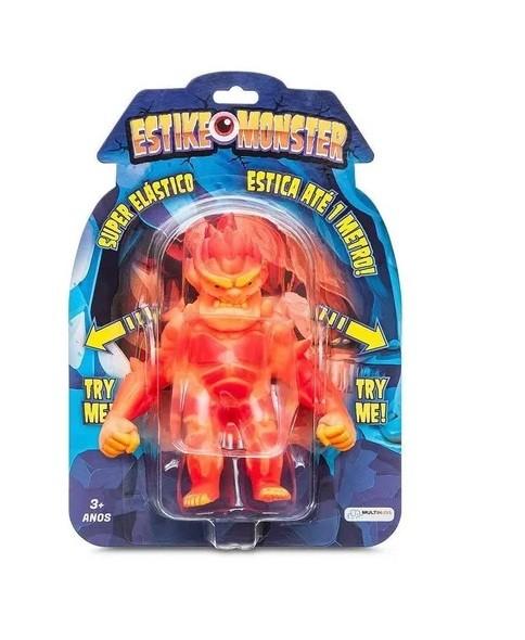 Boneco de monstro 14cm estica até 1m Estike Monster  Multikids - Vulcano  - Mix Eletro