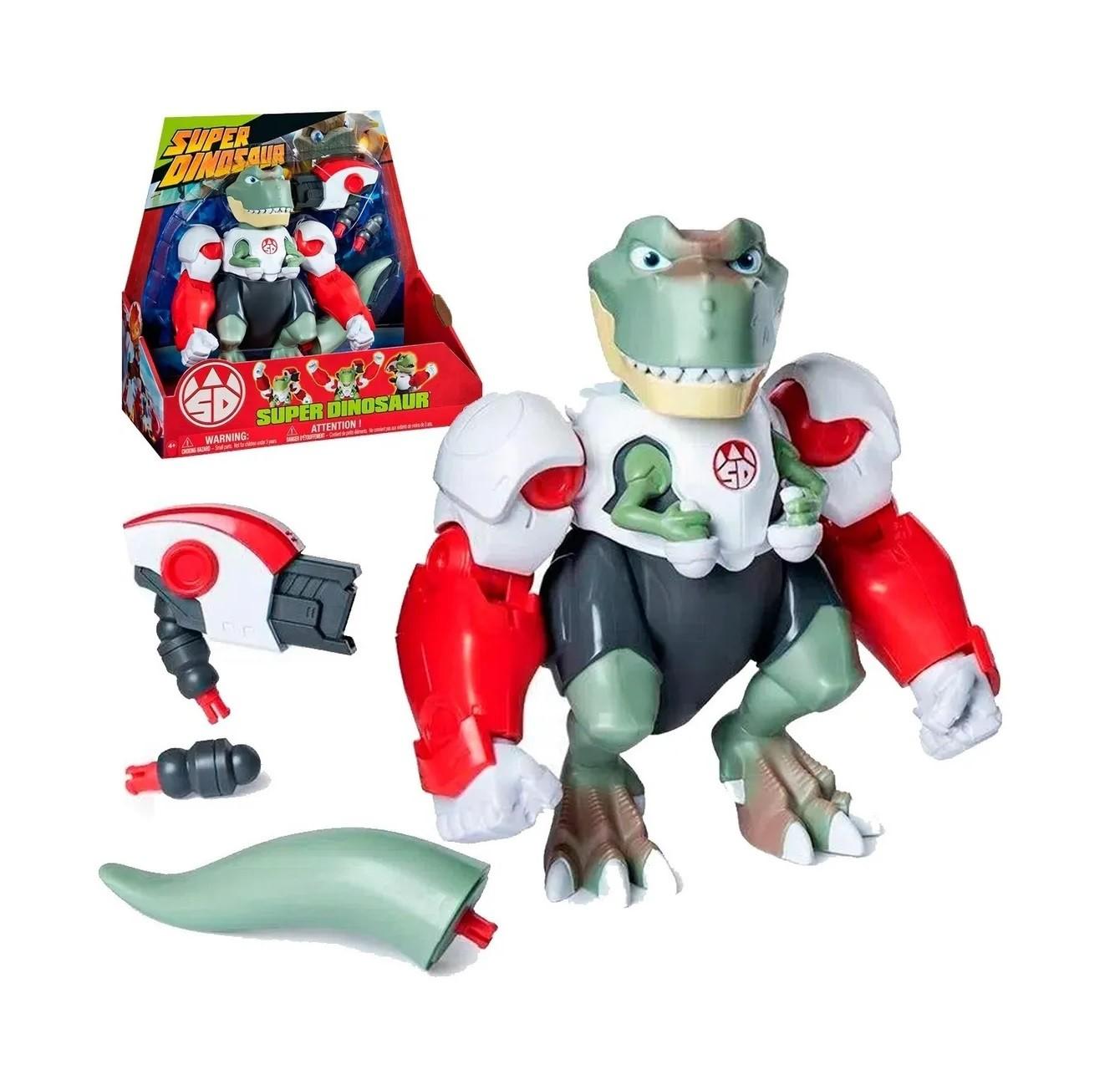 Boneco Super Dinosaur T-Rex 20cm articulado com acessórios Multikids BR1154  - Mix Eletro