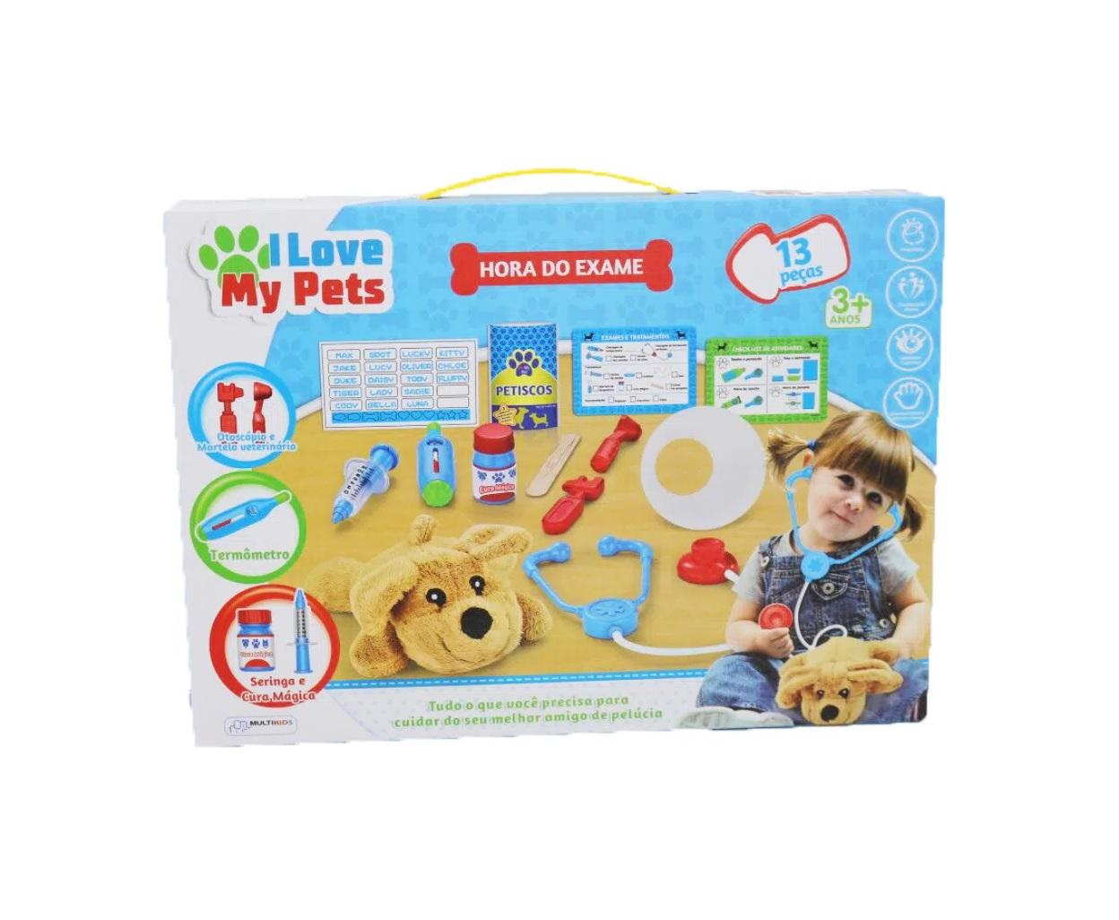 Brincando de veterinário Hora do Exame I Love My Pets 13pçs Multikids BR1216  - Mix Eletro