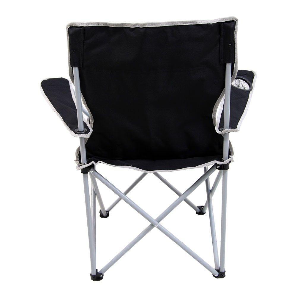 Cadeira Dobrável para Camping com Porta Copos Alvorada Preta Nautika  - Mix Eletro