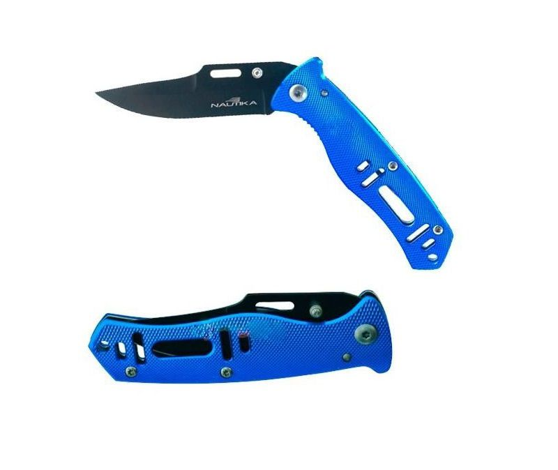 Canivete lâmina 8,7cm cabo alumínio azul thunder 17cm Nautika  - Mix Eletro
