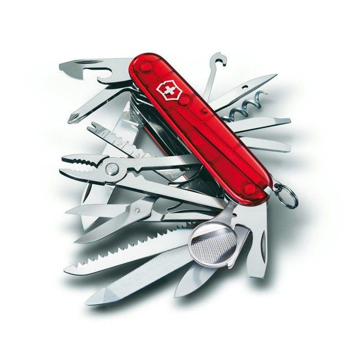 Canivete Suíço Victorinox Swisschamp Vermelho Translúcido 33 funções Original 1.6795.T  - Mix Eletro