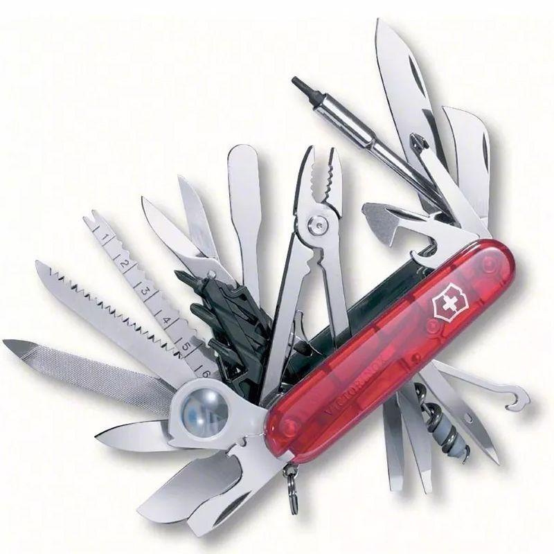 Canivete Suíço Victorinox Swisschamp Vermelho Translúcido 50 funções Original 1.6795.XLT  - Mix Eletro