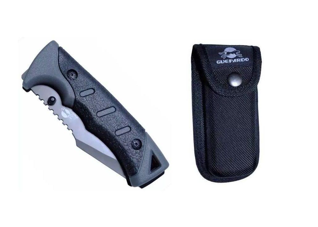 Canivete tático Forester soft grip aço inox 440 c/ Bainha Guepardo  - Mix Eletro
