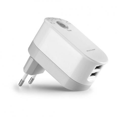 Carregador de Parede universal 2 Portas USB 2,4A com Timer e Plug Dobrável Branco Multilaser  CB139  - Mix Eletro