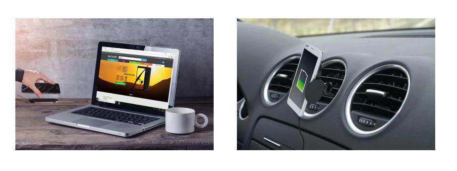 Carregador wireless 2 em 1 mesa e automotivo Concept Multilaser CB131  - Mix Eletro