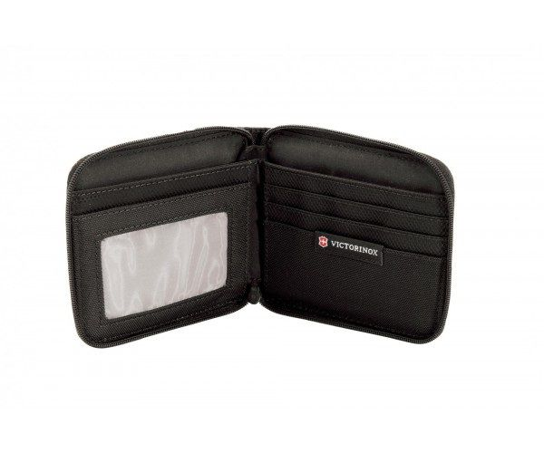 Carteira em Nylon Preta com zíper TA 4.0 Bi-Fold Wallet Zip-Around Victorinox   - Mix Eletro