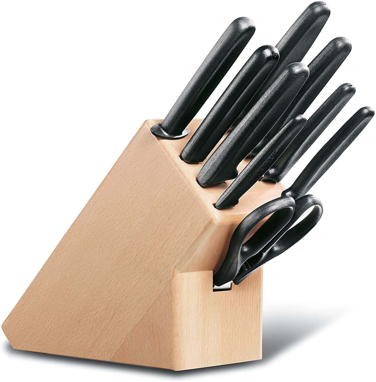 Cepo de madeira com 10pçs 6 facas garfo chaira tesoura linha Swiss Classic Victorinox 5.1193.9  - Mix Eletro