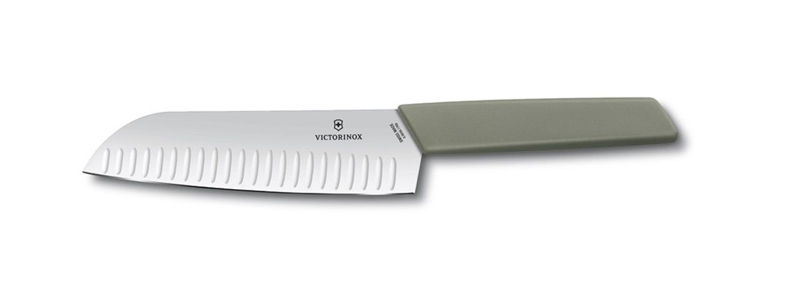 Cepo de madeira com 5 facas e garfo linha Swiss Modern Victorinox 7pçs   - Mix Eletro