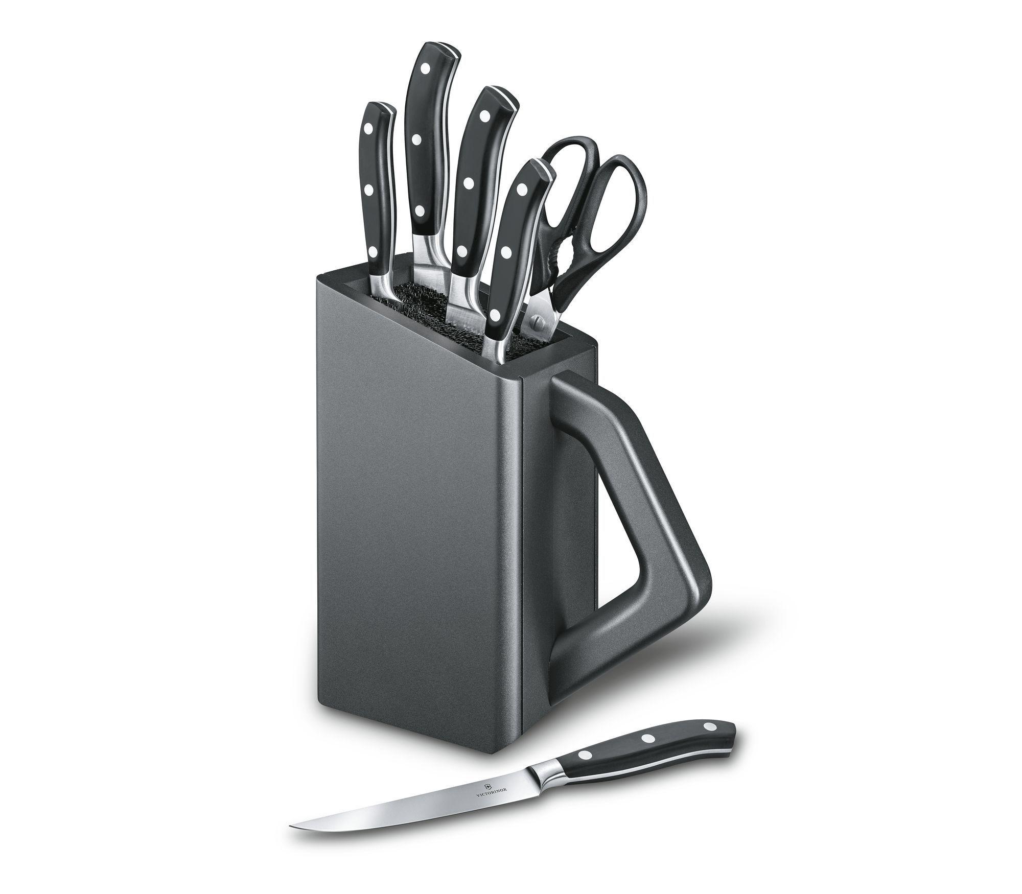Cepo de madeira com 5 facas forjadas e tesoura Grand Maître Victorinox 7.7243.6  - Mix Eletro
