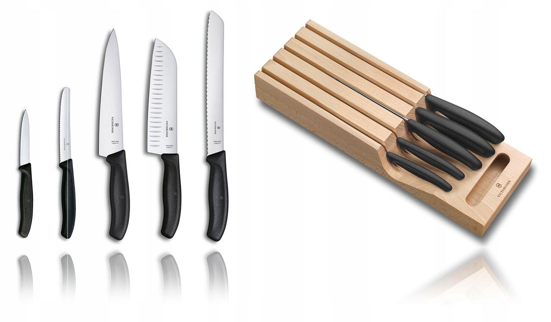 Cepo de madeira gaveta com 5 facas Swiss Classic Victorinox 6.7143.5   - Mix Eletro