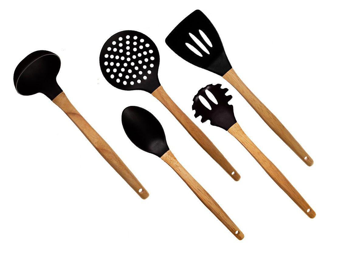 Conjunto de utensílios de cozinha Concha Colher Espátula Escumadeira e Pegador de massas linha Riga Design 5 peças  - Mix Eletro