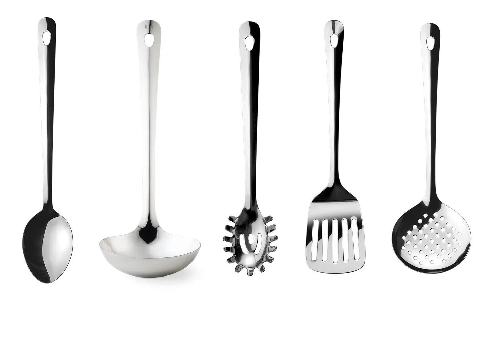 Conjunto de utensílios Inox Concha Colher Espátula Escumadeira e Pegador de massas 5 peças + Suporte  - Mix Eletro