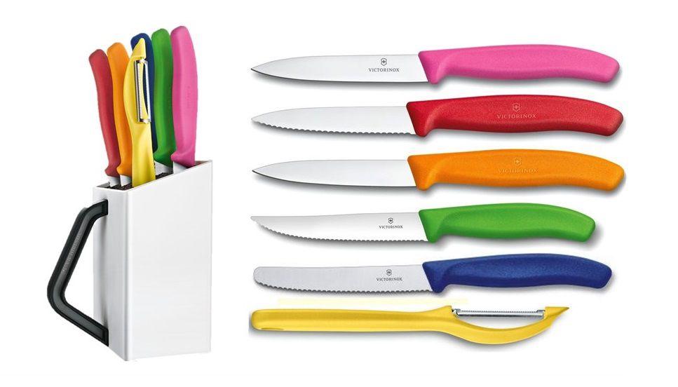Conjunto de 5 facas multiuso descascador e cepo branco Victorinox 6.7127  - Mix Eletro