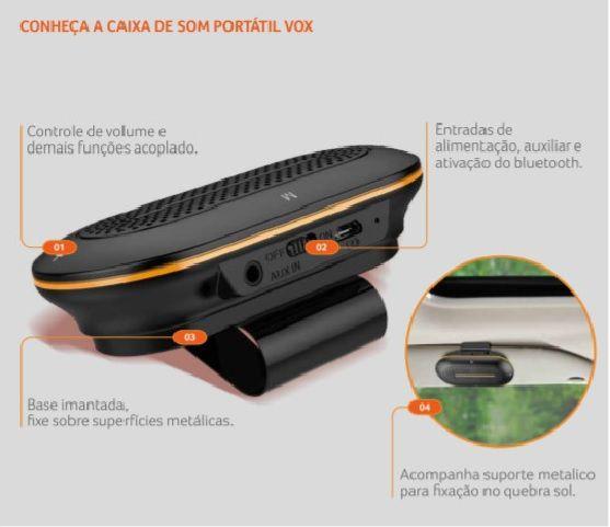Caixa de som Bluetooth Automotiva Viva voz 3w Vox Multilaser Au204  - Mix Eletro