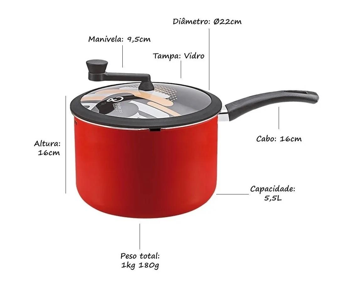 Panela Pipoqueira Antiaderente 22cm Premium 4,7L Vermelha Panelux  - Mix Eletro