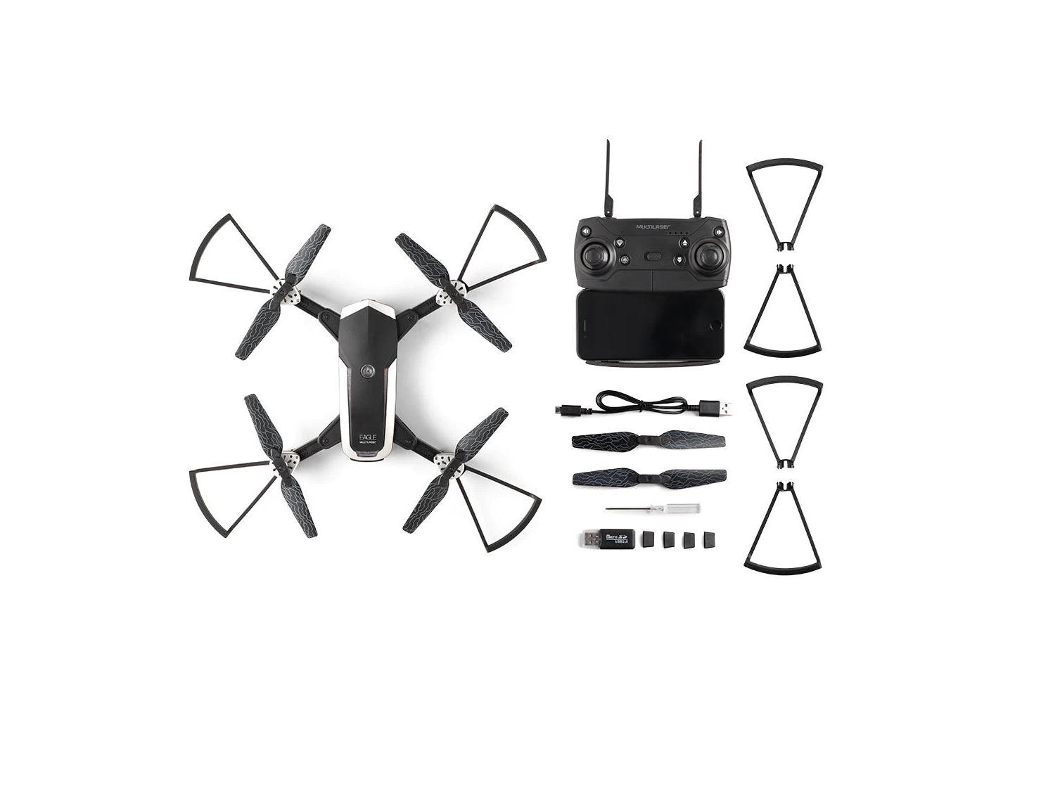 DRONE EAGLE COM CÂMERA HD FPV ALCANCE 80 METROS MULTILASER - ES256  - Mix Eletro