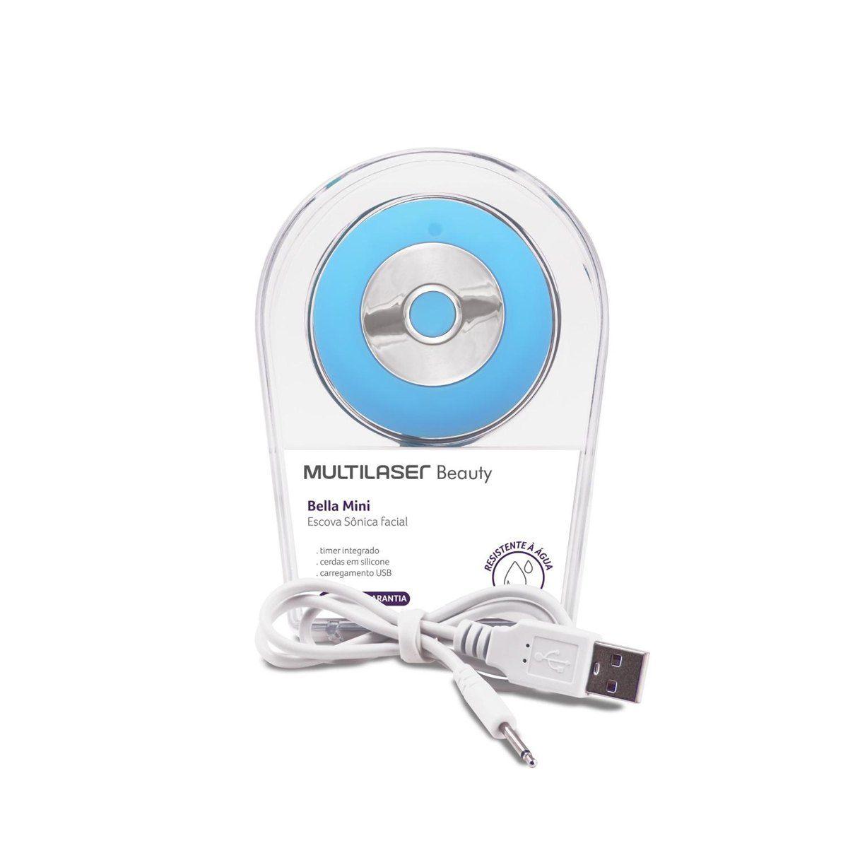 Escova Sônica para Limpeza Facial Bella Mini Multilaser Recarregável Azul  HC185  - Mix Eletro