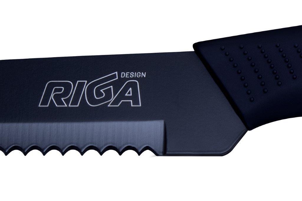 Faca aço Inox Black para pães lâmina serrilhada 8 Polegadas 34cm Riga  - Mix Eletro