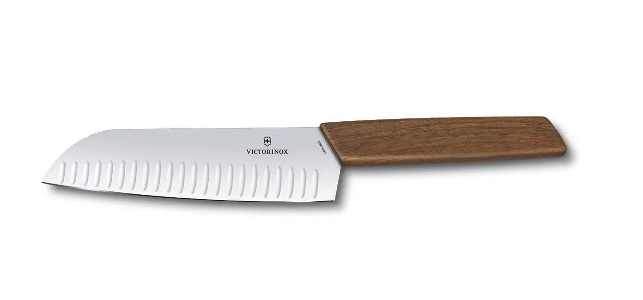Faca Santoku lâmina 17cm com sulcos linha Swiss Modern cabo nogueira Victorinox  - Mix Eletro