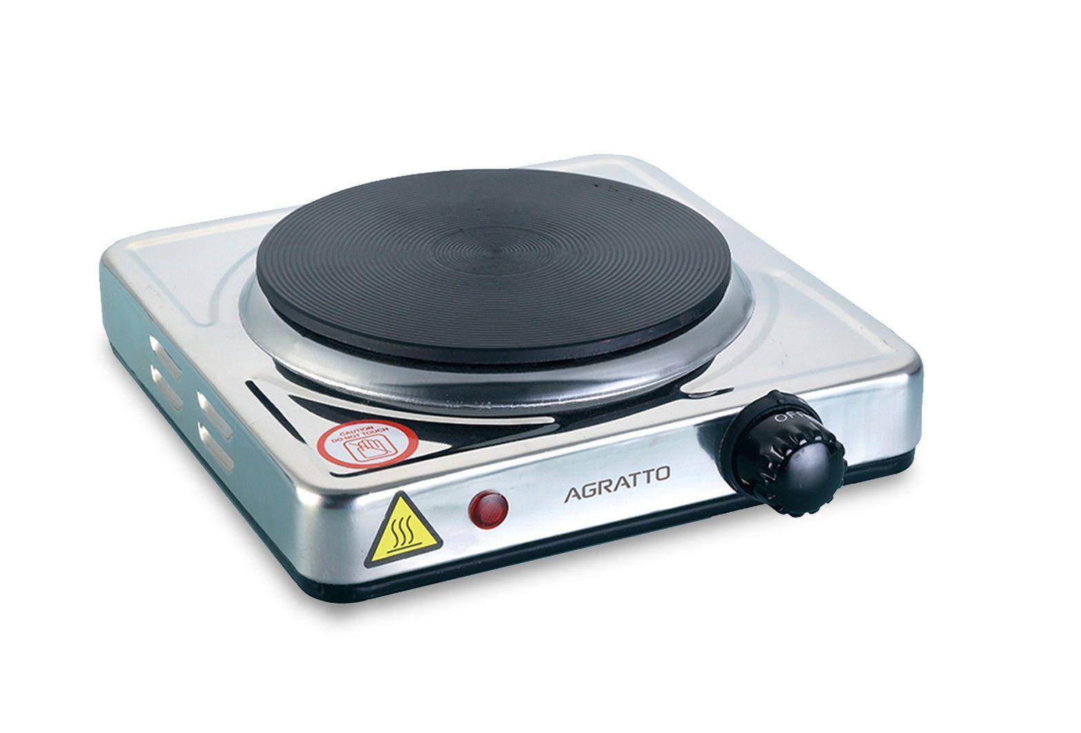 Fogão Elétrico 1 Boca portátil De Mesa Aço Inox Cooktop 1500W Agratto  - Mix Eletro