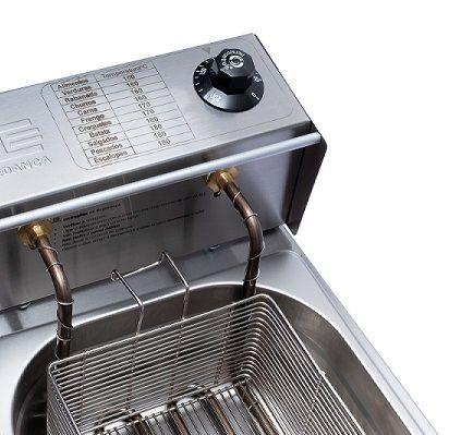 Fritadeira Elétrica Profissional em Aço Inox 10L 2 Cubas 5 Litros EDANCA  - Mix Eletro