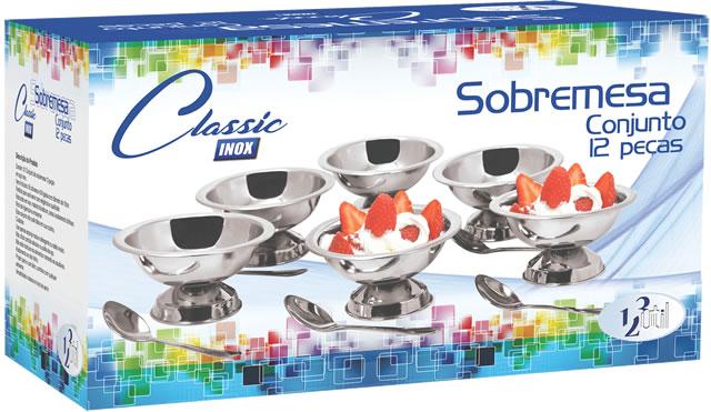 Jogo de sobremesa com 6 taças e colheres aço inox linha classic UD244  - Mix Eletro