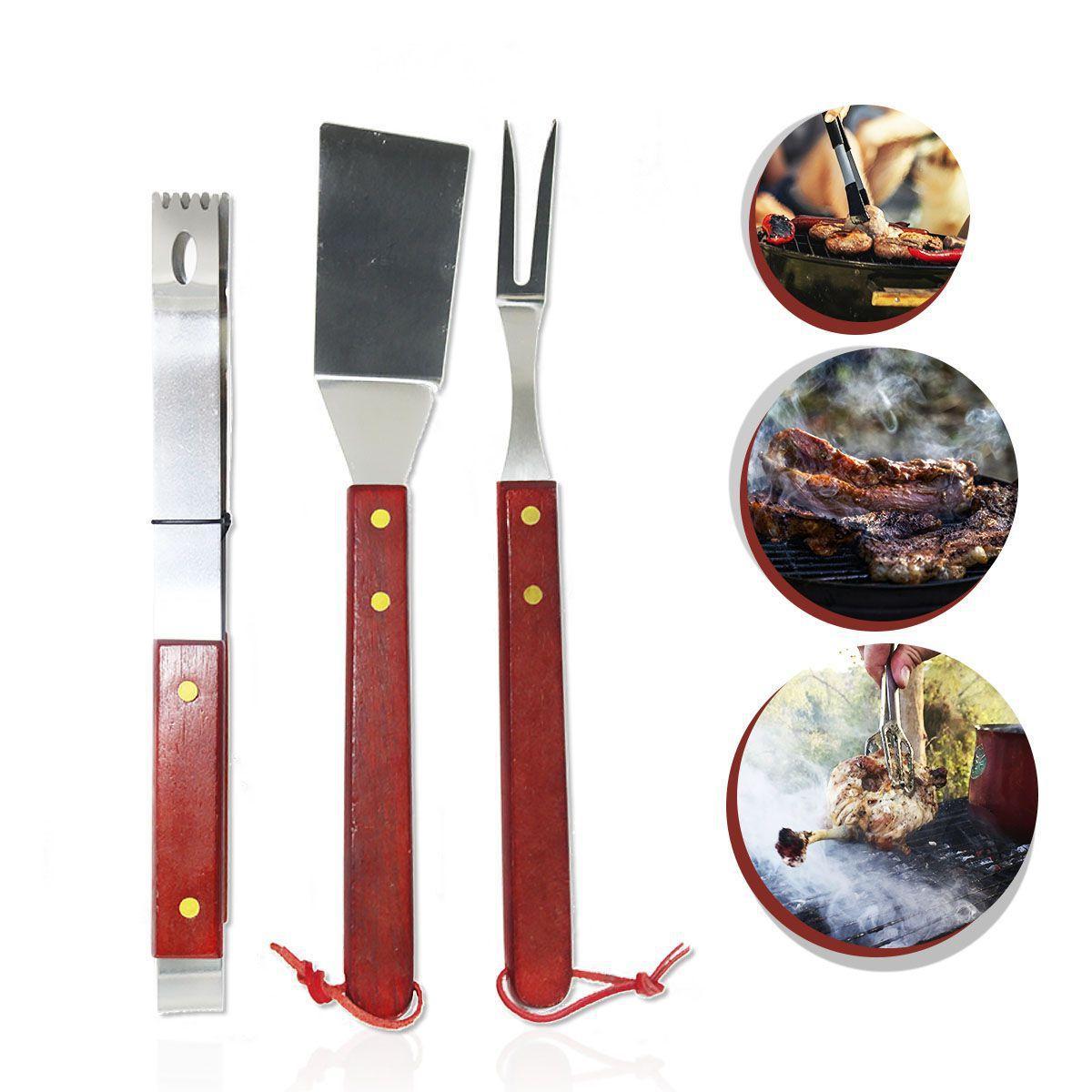 Kit churrasco 3pçs 32cm garfo, pegador e espátula aço inox cabo madeira UD576  - Mix Eletro