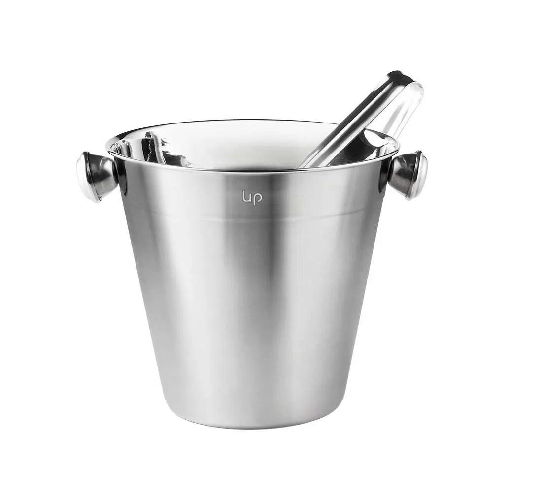 Kit coqueteleira 500ml dosador de shot colher bailarina e balde de Gelo 1,5l ço inox Up Home  - Mix Eletro