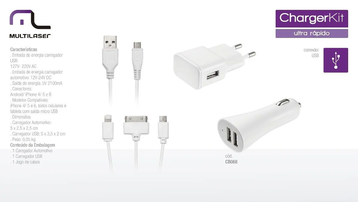 Kit De Carregador 3 Em 1 Micro IOS4/ IOS5/6/7/8 Multilaser CB068  - Mix Eletro