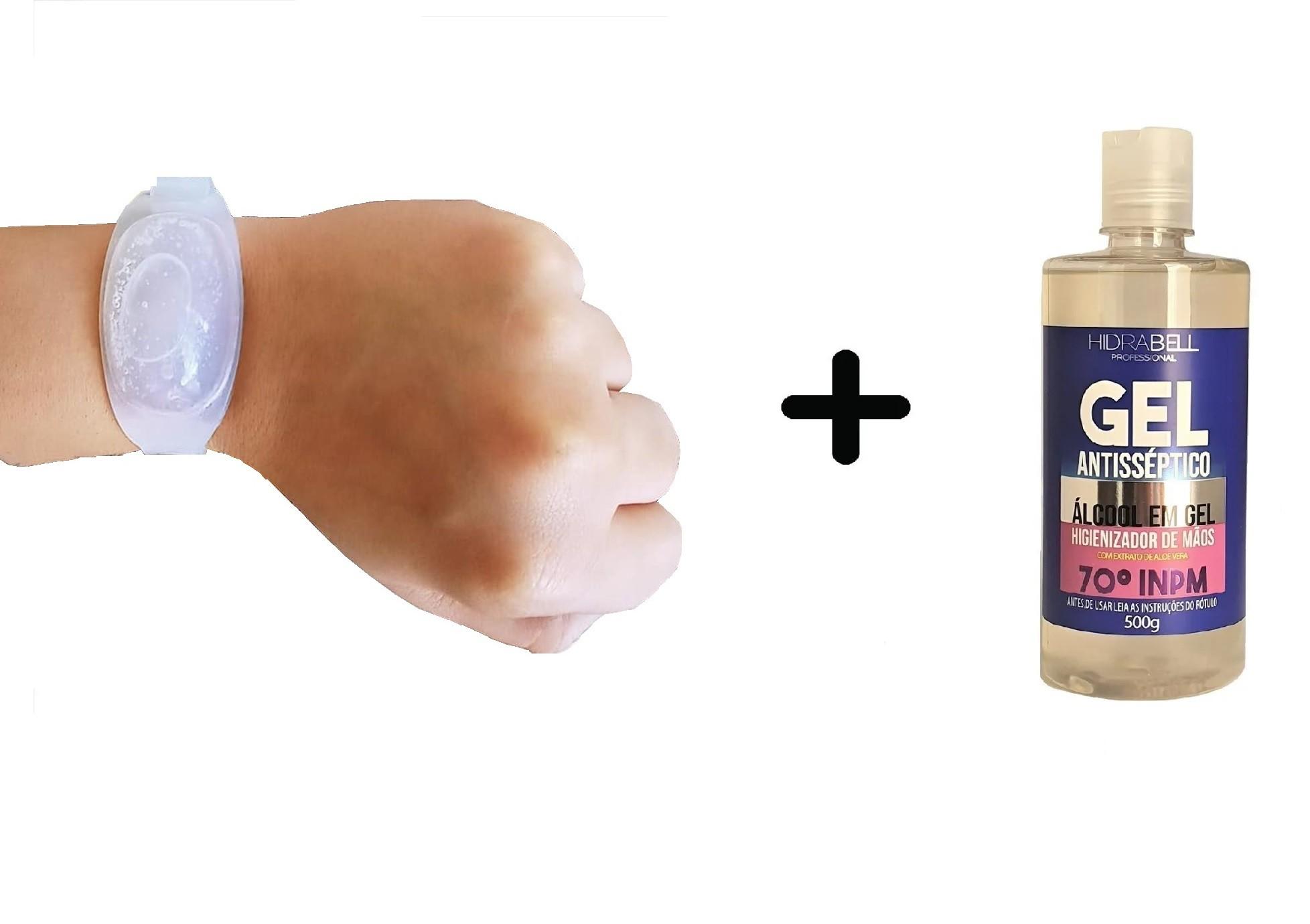 Kit Pulseira biosegurança dispenser em silicone + álcool gel 500g Hidrabell  - Mix Eletro