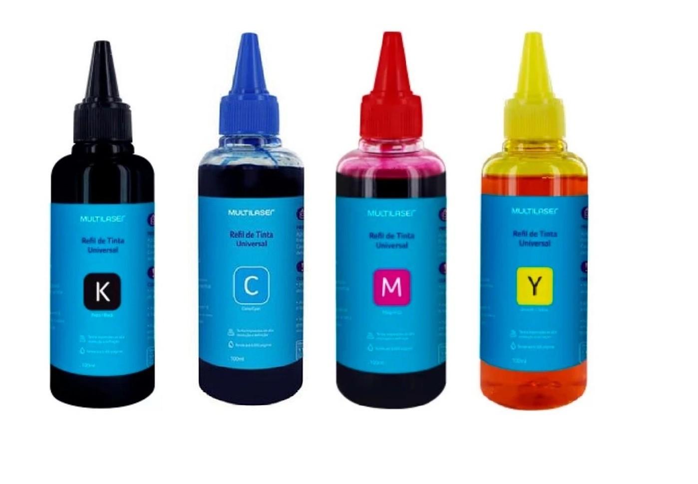 Kit Refil De Tinta Multilaser Preto amarelo ciano e magenta para impressora Epson  - Mix Eletro