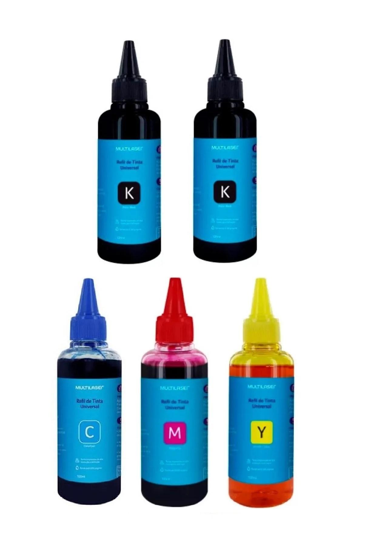 Kit Refil De Tinta Multilaser Preto amarelo ciano e magenta para impressora Epson 5 unid  - Mix Eletro