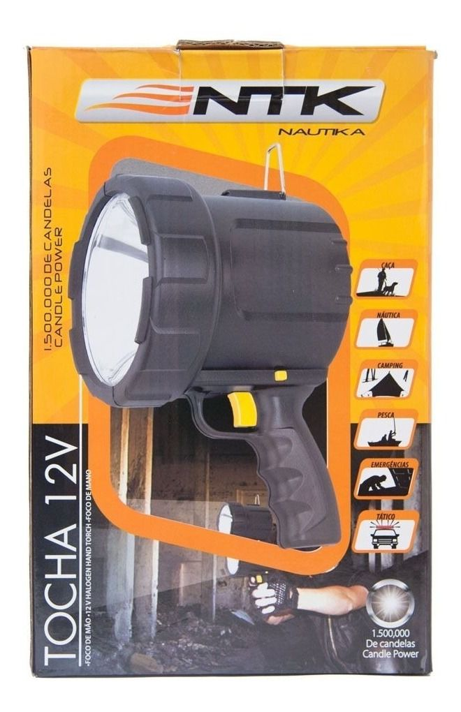 Lanterna Refletor foco de mão halógeno 1.500.000 Velas 12V Nautika  - Mix Eletro