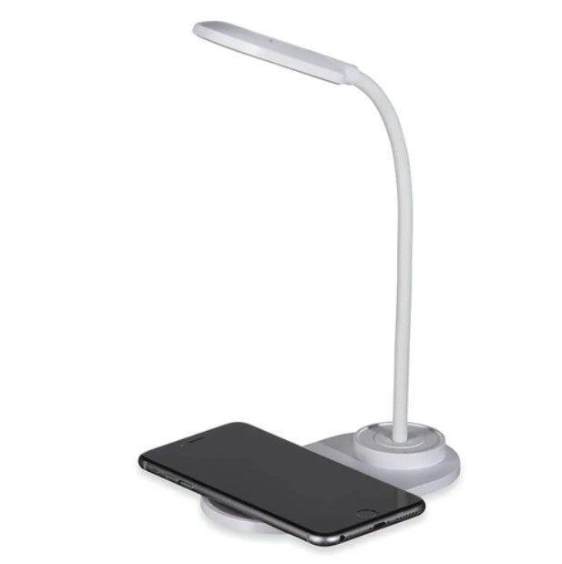 Luminária de mesa flexível LED 3 temperaturas com carregador Qi indução Asus  - Mix Eletro