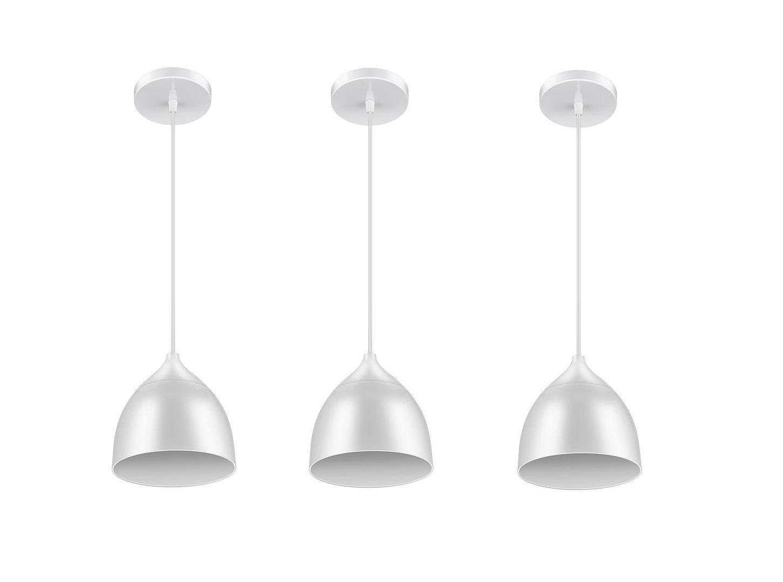 Luminária LED Pendente 9w 6500k Branco Elgin kit 3 pçs  - Mix Eletro