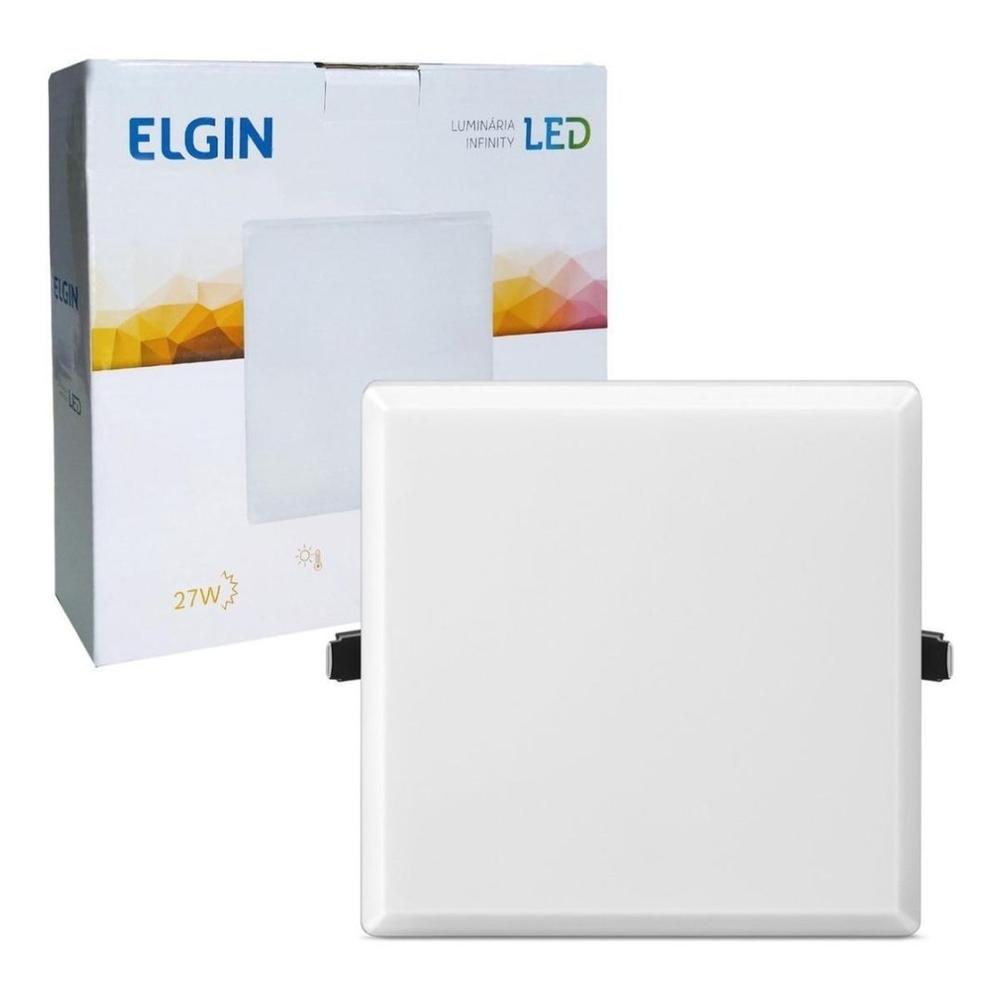 Luminária Painel Led Infinity Quadrado 27w Bivolt 3000k morna Elgin  - Mix Eletro
