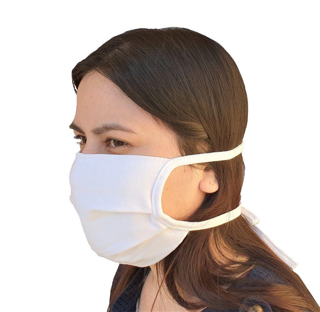 Mascara de Proteção lavável Tecido Duplo 100% algodão reutilizável branca  - Mix Eletro