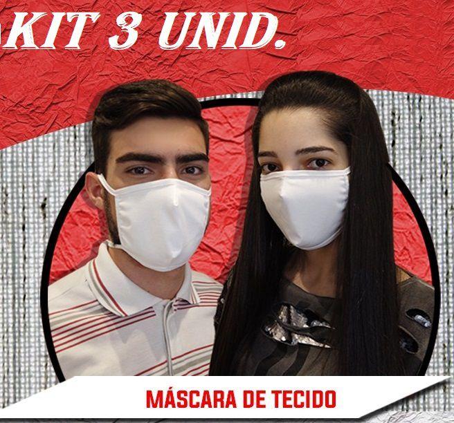 Máscara De Proteção Reutilizável em Tecido duplo 100% algodão anatômica Kit 3 unid.  - Mix Eletro