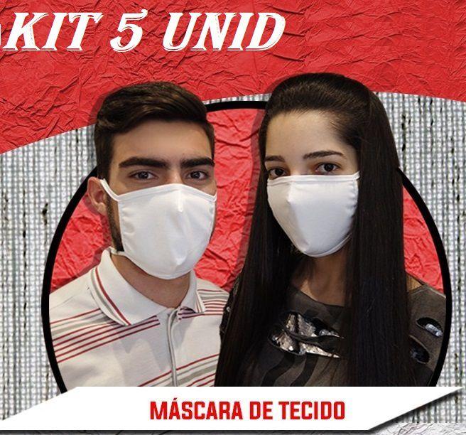 Máscara De Proteção Reutilizável em Tecido duplo 100% algodão anatômica Kit 5 unid.  - Mix Eletro