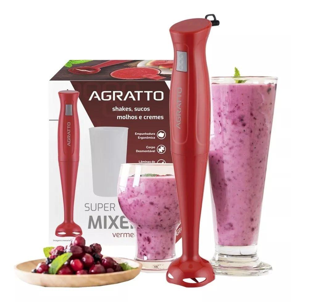 Mixer De Alimentos Gourmet com Copo 700ml 200W Vermelho Agratto  - Mix Eletro