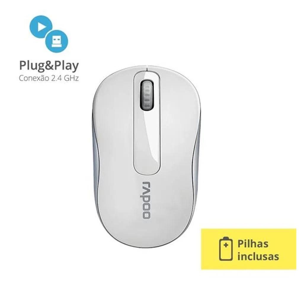 Mouse sem fio Rapoo 2.4 Ghz Garantia 5 Anos Com Pilha M10 Branco  - Mix Eletro