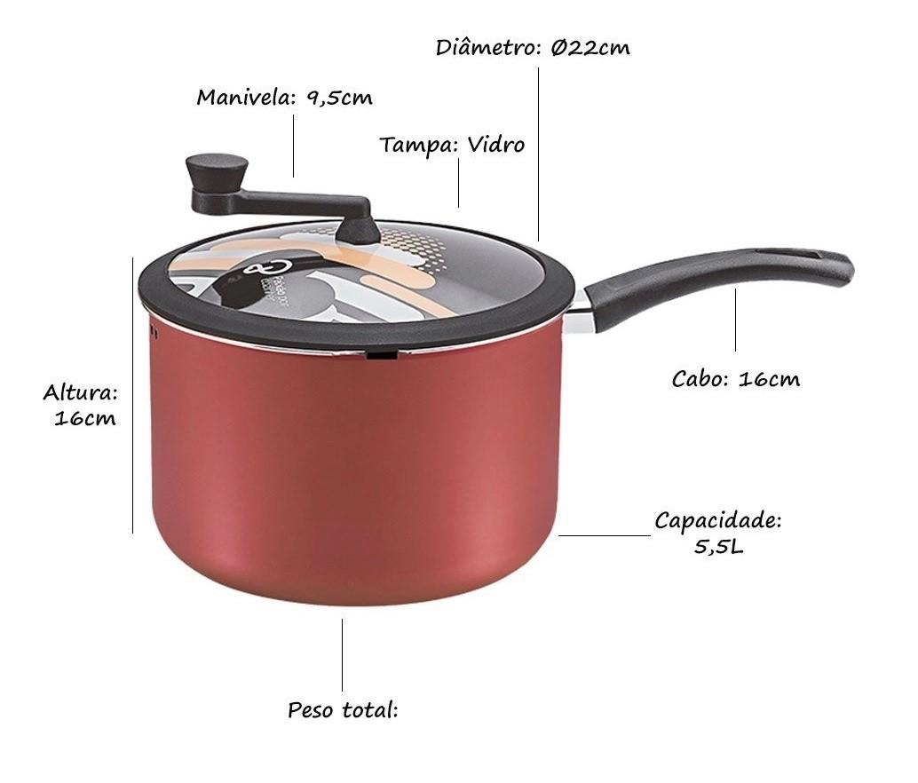Panela Pipoqueira Antiaderente 22cm Premium 4,7L cereja Panelux  - Mix Eletro