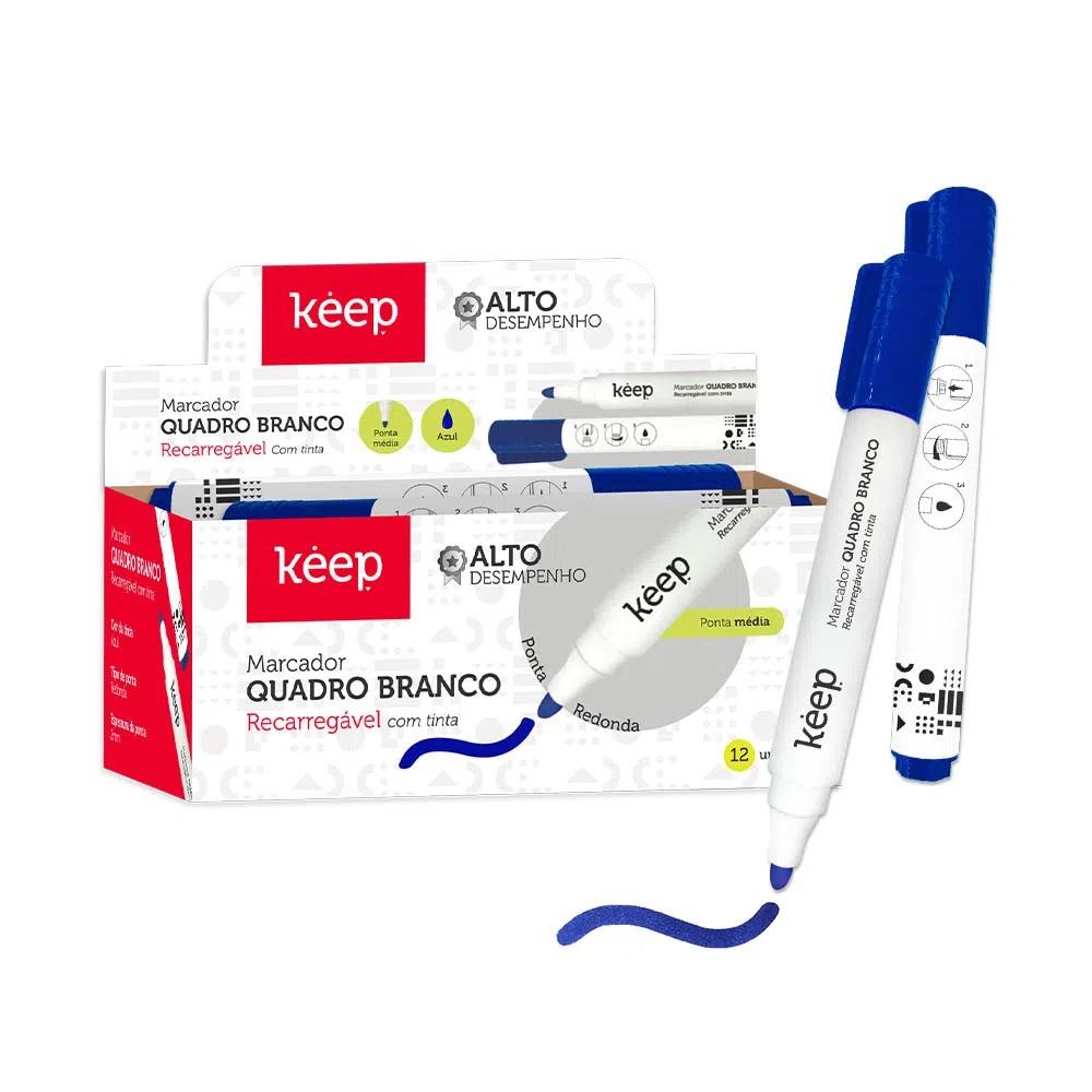 Pincel Marcador Quadro Branco ponta média azul Easy Keep CAIXA 12 UNID.  - Mix Eletro