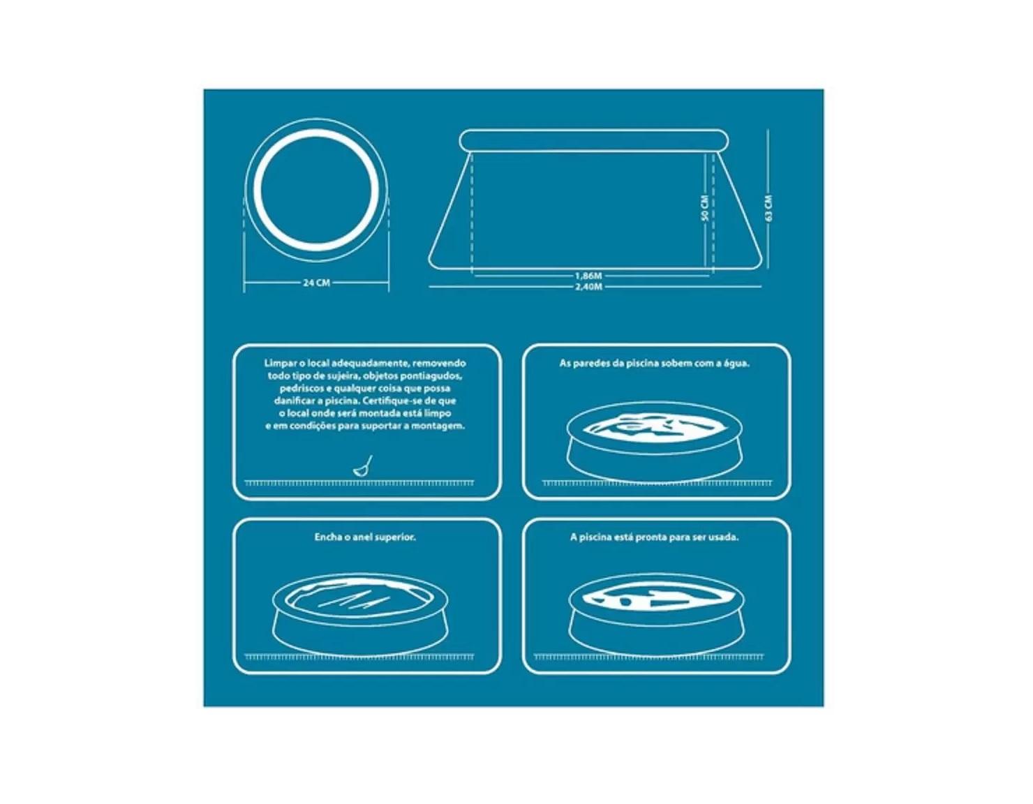 Piscina inflável pvc circular portátil 2500 litros ES304 Acqua Atrio  - Mix Eletro