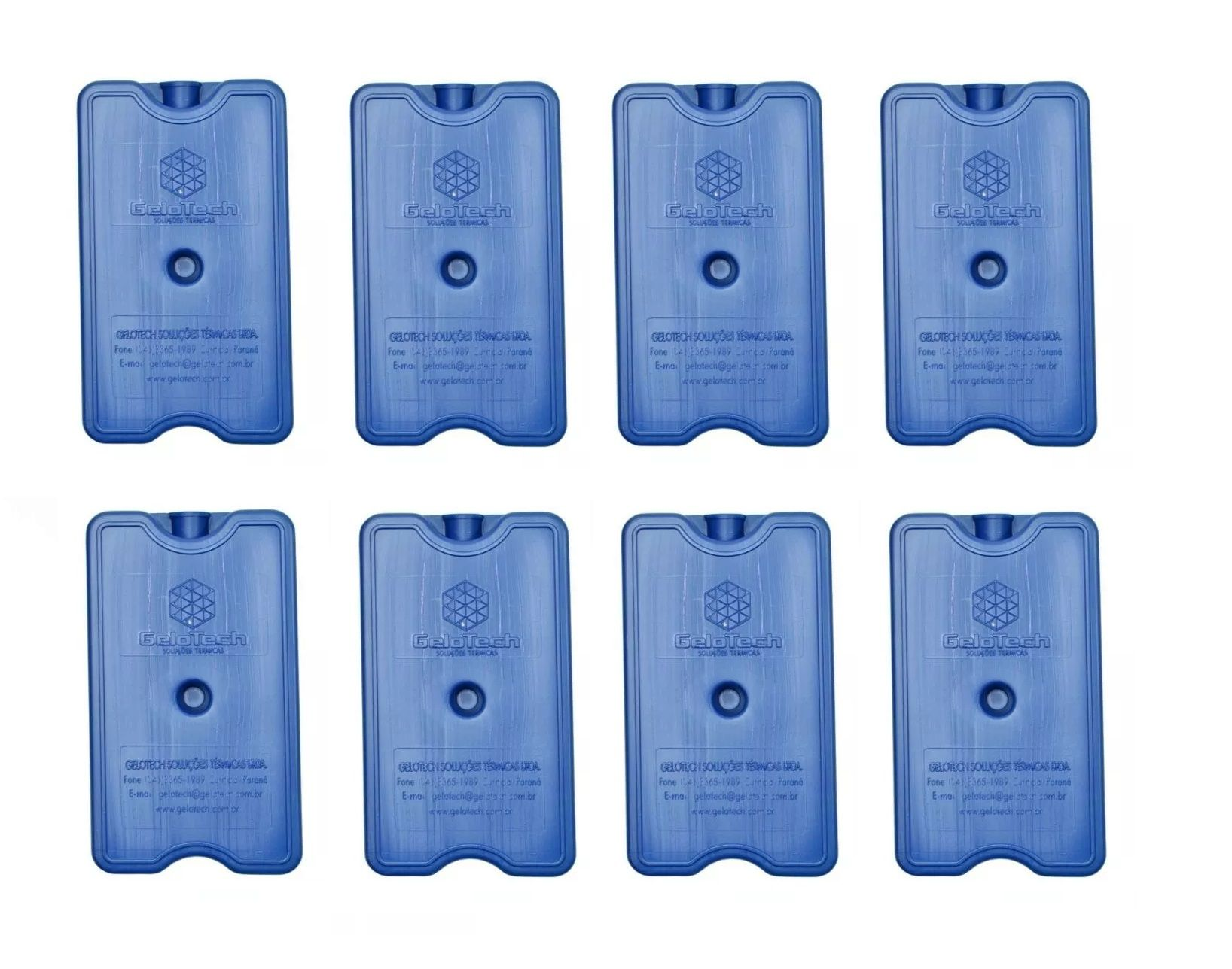 Placa Gelo-x Gel Rígido Reutilizável 500ml 17x10x3cm Gelotech Kit c/ 8 unidades  - Mix Eletro